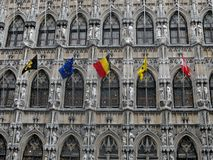 Gothic city hall. Facade of the city hall of Louvain, the Flemish city of Belgium Stock Photo