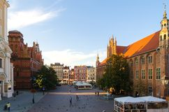 Gothic city, the Old Town Square in Torun, Poland. Stock Photos