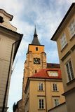 Gothic clock tower in the center of medieval Prague, Czech Republic. royalty free stock image