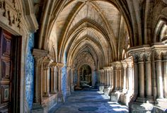 Gothic cloister of the cathedral of Porto stock image
