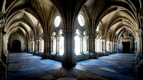 Gothic Cloister Courtyard. This typical vaulted cloister courtyard is part of the Porto (Portugal) cathedral Stock Photos