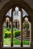 Gothic cloister of the monastery stock photo