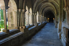 Gothic cloister. Cloister of the Tui cathedral, Galicia. Spain Royalty Free Stock Images