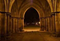 Gothic cloisters at night Stock Photography