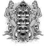 Grunge skull coat of arms Royalty Free Stock Image