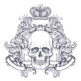 Gothic coat of arms with skull. Vintage label. Retro vector desi Royalty Free Stock Photography