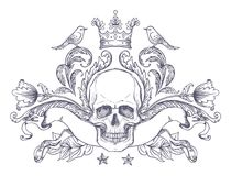 Gothic coat of arms with skull. Vintage label. Retro vector desi Royalty Free Stock Photo