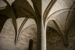 Gothic Column Room Interior Stock Image