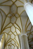 Gothic columns inside the old medieval saxon lutheran church in Sighisoara, Transylvania, Romania stock image