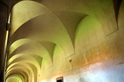 Gothic corridor. In the Plasy monastery, Bohemia, Europe Royalty Free Stock Image