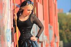 Gothic corset fashion on train stock photos