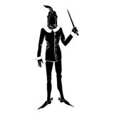 Gothic costume man silhouette. Silhouette of a fictional character in a gothic outfit isolated on white Royalty Free Stock Images