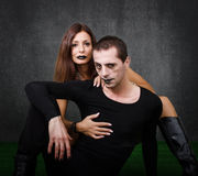 Gothic couple embracing Royalty Free Stock Photography