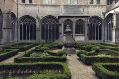 Gothic courtyard monumental cathedral Royalty Free Stock Image