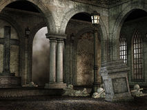Gothic courtyard with skulls Stock Photos