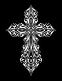 Gothic Cross. Fully editable vector illustration of gothic cross in white on isolated black background, image suitable for design elements, logo, crest, emblem royalty free illustration