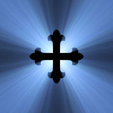 Gothic cross symbol blue light flare. Isolated flower (fleury) armed cross sign with powerful blue light halo. Extended flares for background cropping Stock Photos