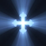 Gothic cross symbol blue light flare. Isolated flower (fleury) armed cross sign with powerful blue light halo. Extended flares for background cropping stock illustration