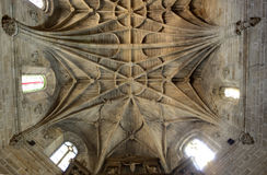 Gothic cross vault. Typcal Gothic cross vault made of granite stone, Caceres, Spain Stock Photo