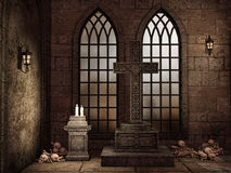 Gothic crypt with bones royalty free illustration