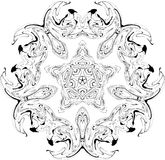 Gothic curves pattern. Black and white symmetry gothic pattern of curves Royalty Free Stock Images