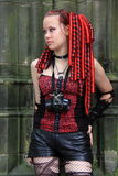 Gothic cyber girl hair extensions Royalty Free Stock Photo