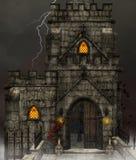 Gothic dark church. Gothic church with skulls - Halloween background Stock Photography