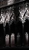Gothic decorations of a choir of a church Stock Photo