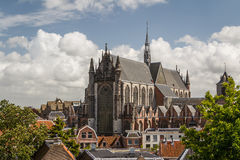 Gothic details of the cathedral church in Leiden stock images