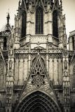 Gothic details on a Catholic Cathedral. Barcelona Cathedral in black and white - close up of detail, stonework, carvings, arches, windows and spires Stock Photography