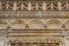 Gothic details of the facade of medieval building in Orleans Stock Images