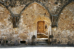 Gothic Door 5. Old stone wall, with gothic style door in old ruins Stock Images