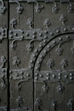 Gothic door. Section of an old gothic door showing the ironwork. (in Brussels, Belgium Royalty Free Stock Images