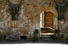 Gothic Door 6. Old stone wall, with gothic style door in old ruins Royalty Free Stock Photo