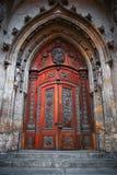 Gothic Door. Ancient Church Wooden Gothic Door Stock Images