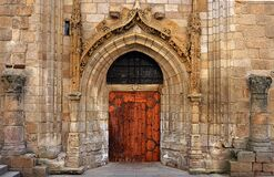 Gothic doorway on historic church Royalty Free Stock Photos