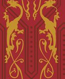 Gothic Dragons Seamless. Vector seamless pattern with golden gothic dragons Royalty Free Illustration