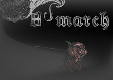 Gothic eighth of March. Poster on dark background Royalty Free Stock Photos