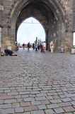 Gothic entrance tower to Charles Bridge in Prague Royalty Free Stock Photo