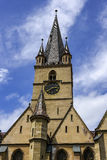 Gothic evangelical church tower of Sibiu Stock Photo
