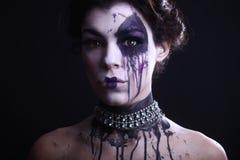 Gothic Expressive Girl on Plain Background Stock Photos