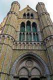 Gothic facade of the Church of Our Lady, Bruges, Belgium 1 Stock Photos