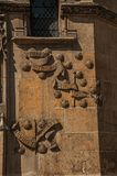 Gothic facade decoration on the Cluny Museum, with a rich medieval art collection, in Paris. stock photos