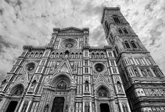 Gothic facade of the Florence cathedral Basilica di Santa Maria del Fiore in stunning black and white Royalty Free Stock Photo