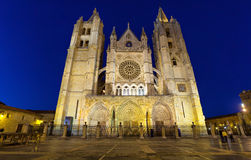 Gothic facade of Leon Cathedral in the evening Stock Images