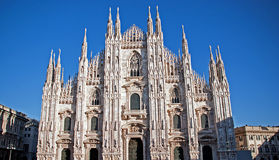 Gothic facade of the Milan Cathedral Royalty Free Stock Photo