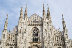 The Gothic facade of Milan Cathedral Royalty Free Stock Images