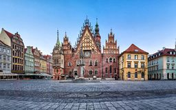 Gothic facade of old Town Hall in Wroclaw. Gothic facade with astrinomical clock of old Town Hall in Wroclaw, Poland royalty free stock image