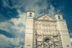 Gothic facade of San Pablo church, Valladolid, Spain. Gothic facade of San Pablo church with cloudy blue sky, Valladolid, Spain Royalty Free Stock Photo