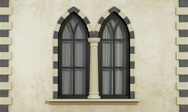 Gothic facade with windows Stock Photography